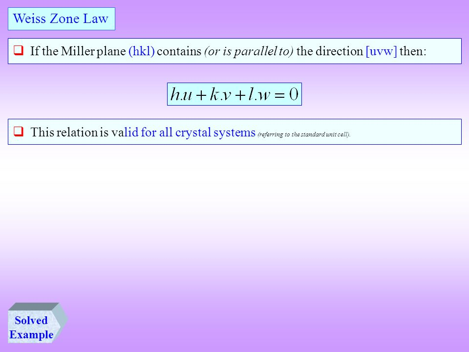 Weiss Zone Law If the Miller plane (hkl) contains (or is parallel to) the direction [uvw] then: